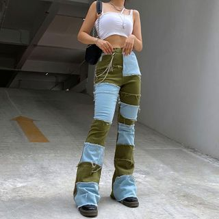 Puffie - Color-Block Fray-Trim Boot-Cut Jeans
