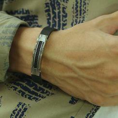 Tenri - Stainless Steel Bar Leather Bracelet