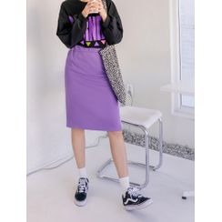 J-ANN - Contrast-Trim H-Line Skirt