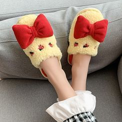 GRUNE - Cartoon Embroidered Bow Slippers