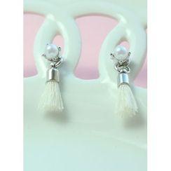 kitsch island - Faux-Pearl Tassel Earrings
