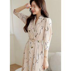Styleonme(スタイルオンミー) - Shawl-Collar Floral Long Dress with Belt