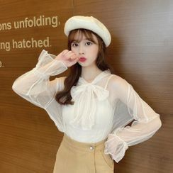 Sisyphi - Set: Bell-Sleeve Lace Blouse + Camisole