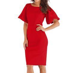 Glitz Army - Short-Sleeve Midi Sheath Dress