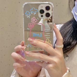 Vachie - Cartoon Print Mirrored Phone Case - iPhone 12 Pro Max / 12 Pro / 12 / 12 mini / 11 Pro Max / 11 Pro / 11 / SE / XS Max / XS / XR / X / SE 2 / 8 / 8 Plus / 7 / 7 Plus
