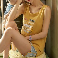 Jeony - Printed Sleeveless Pajama Set