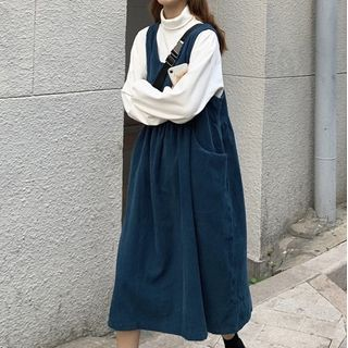 Moon City - Turtleneck Long-Sleeve Top / Corduroy Midi Pinafore Dress