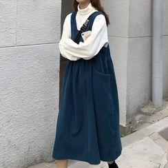 Moon City - 小高領長袖上衣 / 燈芯絨背帶連衣中裙