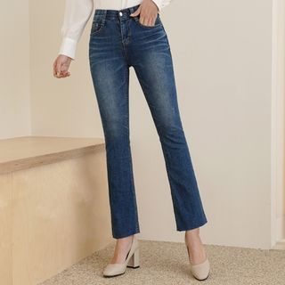 CLICK - Washed Semi Boot-Cut Jeans