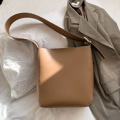 Anadelta - Plain Wide Strap Faux Leather Tote Bag