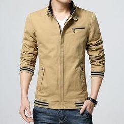 Sheck - Striped Stand Collar Zip Jacket