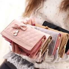 lunacove - Ribbon Quilted Faux Leather Long Wallet