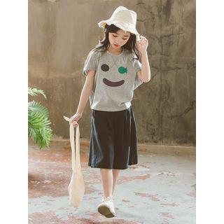 Meroboz - Kids Set: Short-Sleeve Printed T-Shirt + Wide-Leg Shorts
