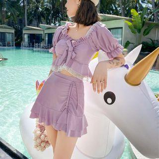 ASUMM - 套装: 荷叶边泳衣上衣 + 裙子