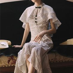 Glaypio - Ruffled Cape-Sleeve Dotted Midi A-Line Dress