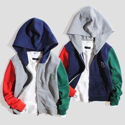 Happy Go Lucky - Kids Color Block Hood Zip Jacket