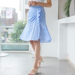 J-ANN - PLUS SIZE Ruched Seersucker Check Skirt