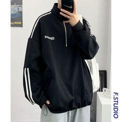CooLook - Striped Half-Zip Sweatshirt