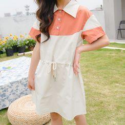 Chisy - Kids Color Block Short-Sleeve A-Line Dress