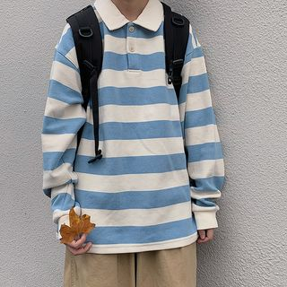 LINSI - Striped Long-Sleeve Polo Shirt