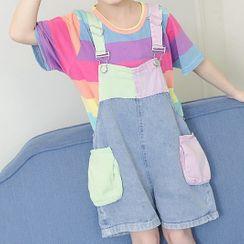 Island Puppies - Kids Set: Rainbow Stripe T-Shirt + Denim Jumper Shorts