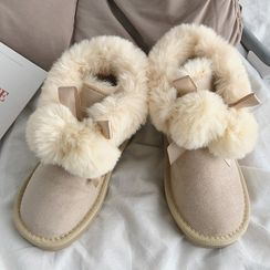 SouthBay Shoes - Pom Pom Platform Ankle Snow Boots