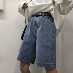 Shineon Studio - 宽腿牛仔短裤