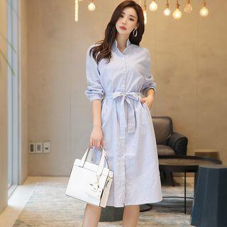 Luminato - Pinstriped Long-Sleeve Shirt Dress