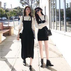 Shivani - Mock Two-Piece Long-Sleeve Knit Midi A-Line Dress / Mini Bodycon Dress