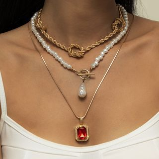 Seirios - Knot / Rhinestone / Faux Pearl Pendant Alloy Necklace