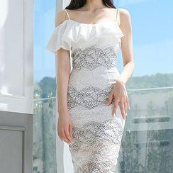 Dimanche - Cold-Shoulder Lace Midi Bodycon Dress