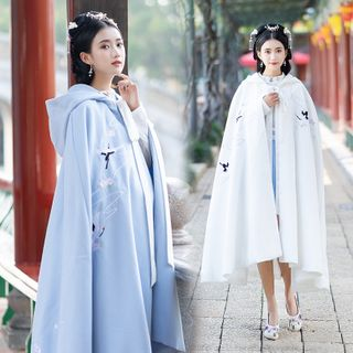 Tangier - Crane Embroidered Hooded Cape