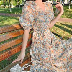 Windflower - Floral Short-Sleeve Top / Midi A-Line Dress