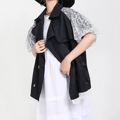 Ultra Modern - Lace Short-Sleeve Trench Jacket