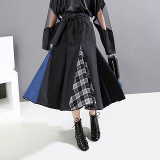 Sointo - Midi Plaid Panel A-Line Skirt