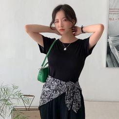 MERONGSHOP - Basic Pastel Slim-Fit Silky T-Shirt