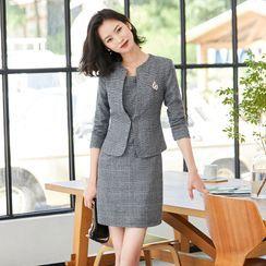 Princess Min - Set: Sleeveless Plaid Sheath Dress + Jacket
