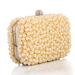 Moonflower - Faux-Pearl Rhinestone Clutch