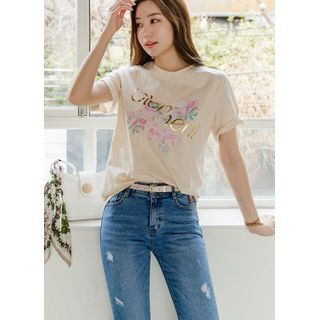 Styleonme - Letter Stitched Flower-Printed T-Shirt