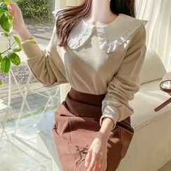 MyFiona - Puritan-Collar Lace-Trim Sweatshirt