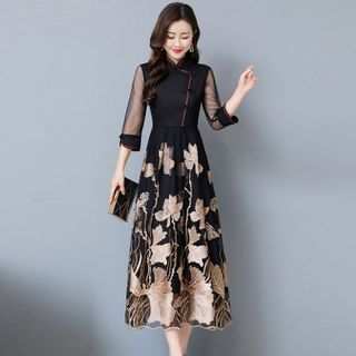 Staria - 3/4-Sleeve Mandarin Collar Floral Midi A-Line Dress