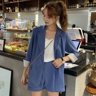 Baage - Plain Blazer / Shorts / Chiffon Camisole Top / Set