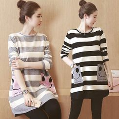 NEUF - Maternity Long-Sleeve Striped T-Shirt / Stomach Lift Leggings / Set