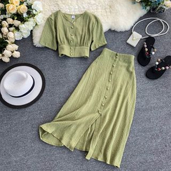 Lucuna - Set: Short-Sleeve Buttoned Crop Top + A-Line Midi Skirt