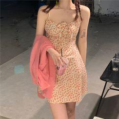 Whoosh - Plain Cardigan / Spaghetti Strap Flower Print Mini A-Line Dress