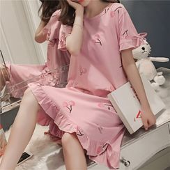 Hanapuff - Short-Sleeve Print Sleep Dress (Various Designs)
