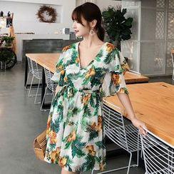 Tanzil - Flower Print Open Back Elbow-Sleeve A-Line Dress