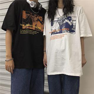 Magma - Elbow-Sleeve Print T-Shirt