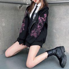 Miu B - Printed Hood Zip Jacket