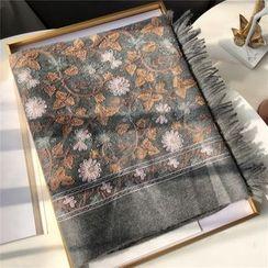 uber ushi - Floral Embroidery Shawl